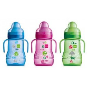 MAM Training Trainer Cup with Soft Spout Handles 6M, 8 Oz Blue Pink Green
