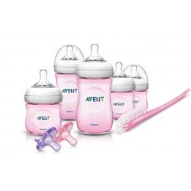Philips AVENT BPA Free Natural Infant Starter Gift Set Pink
