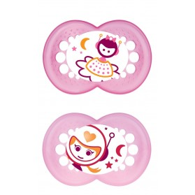 MAM NIGHT BPA Free Glow in the Dark Silicone Pacifier 6 Months Twin Pack