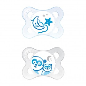 MAM NIGHT BPA Free Glow in the Dark Silicone Pacifier 0 Month Twin Pack