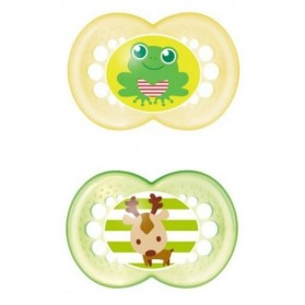 MAM Original Silicone Pacifier 6 months Twin Pack Girl/Boy with Sterilisable Travel Case