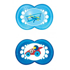 MAM Original Silicone Pacifier 12 months Twin Pack Girl/Boy with Sterilisable Travel Case