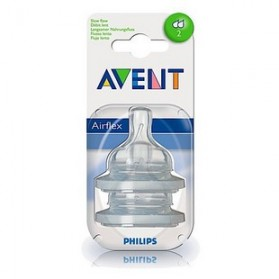 Philips Avent: 2 Silicone Teats 1 Month+ (Level 2) - Slow Flow